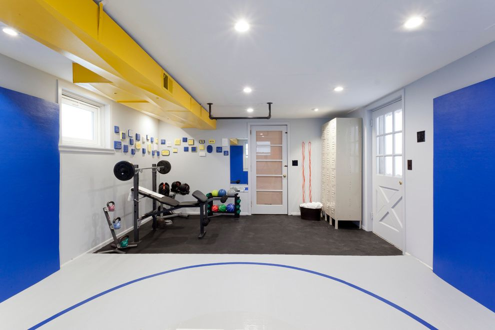How to Pull Up Carpet   Contemporary Home Gym  and Ductwork Exposed Hvac Home Gym Kettlebells Lockers Medicine Balls Padded Walls Pull Up Bar Weight Lifting Equipment Weights Wresting