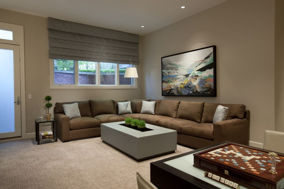 How to Pull Up Carpet   Contemporary Home Theater Also Arc Lamp Art Carpeting Frosted Glass Game Table Gray Gray Coffee Table Pillows Roman Shade Scrabble Sectional Side Table Topiary