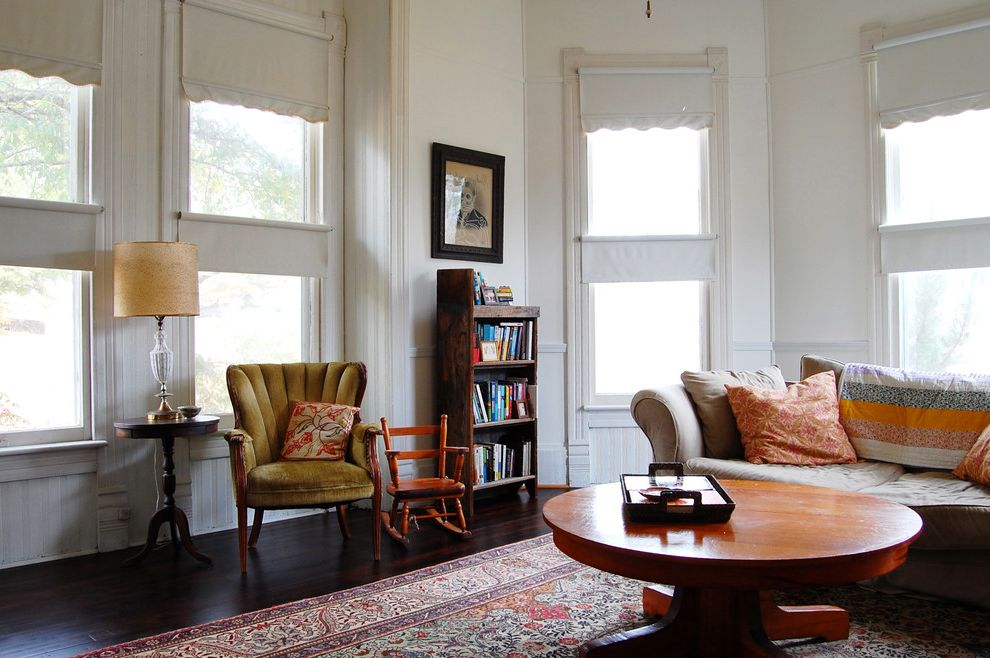 How to Pull Up Carpet   Eclectic Living Room  and Covered Porch Midcentury Vintage Furniture Vintage Lighting Wood Flooring