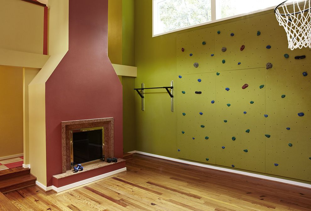 How to Pull Up Carpet   Transitional Home Gym Also Basketball Court Bold Colors Bright Colors Clerestory Fireplace Fireplace Hearth Gym Playroom Rock Climbing Wall Wood Flooring