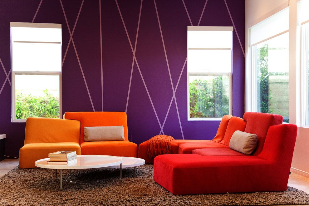 Jerome's Couches   Modern Living Room  and Beige Wall Brown Shag Rug Orange Chair Orange Sofa Purple Accent Wall Purple Striped Wall Purple Wall Red Chair Red Sofa Stacked Coffee Table White Coffee Table White Window Trim