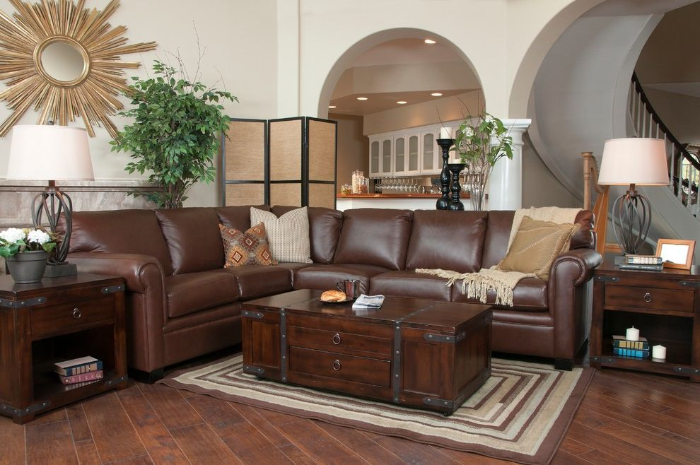 Jerome's Couches   Traditional Living Room Also 100 Leather Brown Family Room Living Room Sectional Traditional