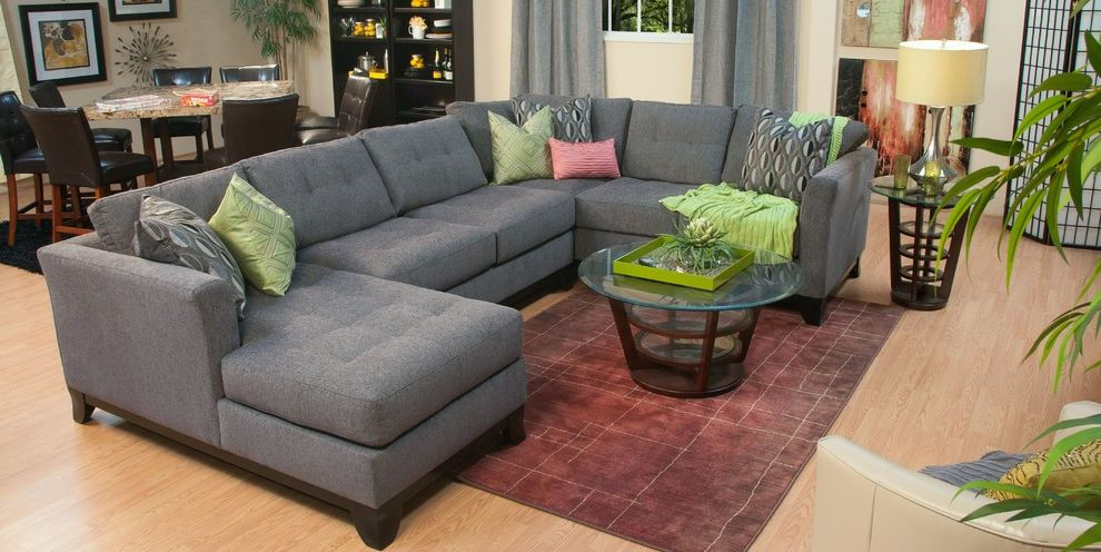 Jerome's Couches   Traditional Living Room  and Chaise Family Room Gray Living Room Modern Sectional