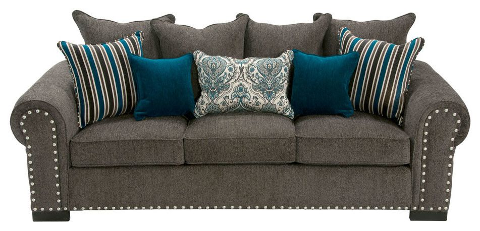 Jerome's Couches with Contemporary Living Room  and Chenille Contemporary Gray Nailhead Trim Transitional Turquoise