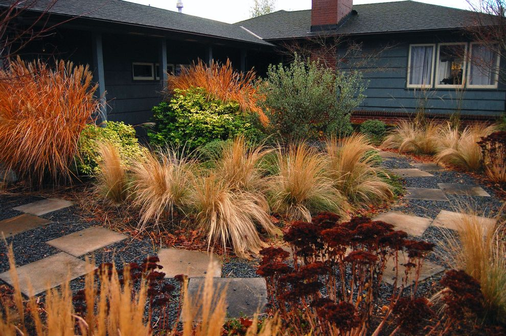 Joy Creek Nursery with Contemporary Landscape  and Feather Grass Gravel Gray Horizontal Fence Grasses Manzanita Large Grasses Manzanita Mounds Natural Grasses Naturalistic Planting Design Linear Path Shingles Squares Stepping Stones Xeriscaping