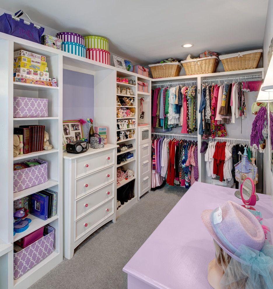 Kids Closet Connection   Traditional Closet  and Girls Closet Gray Carpet Kids Closet Purple Dresser Purple Walls Storage Baskets Storage Bins Toy Storage