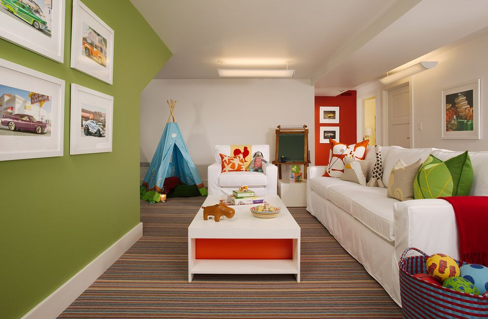 Kiwi Carpet Cleaning with Traditional Kids  and Carpet Chalkboard Coffee Table Decorative Pillows Green Walls Horizontal Stripes Kids Rooms Playroom Red Wall Striped Rug White Baseboard White Couch
