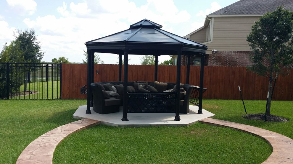 Kyle Tx Weather    Patio Also Backyard Concrete Gazebo Indoor Outdoor Living Outdoor Entertaining Stained Stamped Concrete