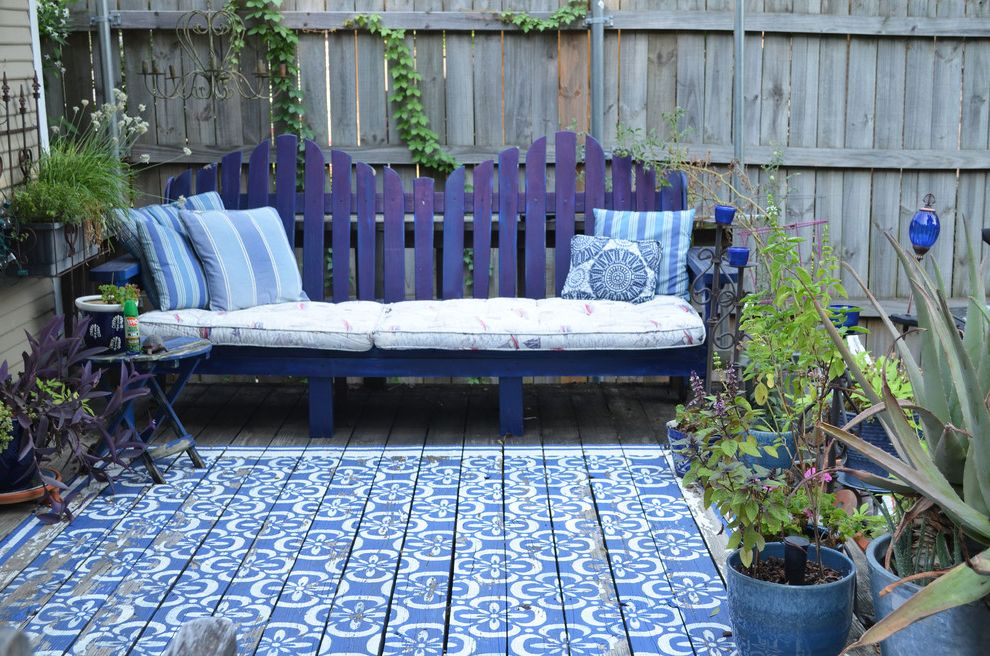 Kyle Tx Weather   Traditional Deck  and Adirondak Bench Blue Blue Patio Furniture Cobalt Deck Diy Garden Moroccan My Houzz Patio Pillows Plants Porch Seating Stencil Vines Wood