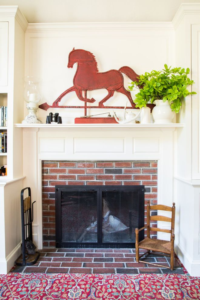 Kyle Tx Weather with Farmhouse Living Room  and Americana Binoculars Candles Crown Molding Metal Horse Weather Vane Mini Plants Red Metal Decor Red Rug Small Wicker Chair