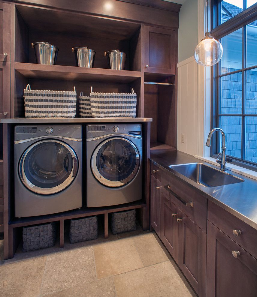 Lg Washer Dryer Pedestal   Transitional Laundry Room Also Buckets Built Ins Cubbies Dark Stained Wood Integrated Sink Pendant Light Stainless Steel Counter Stainless Steel Sink Stone Tile Floor Storage Baskets Wainscoting Window