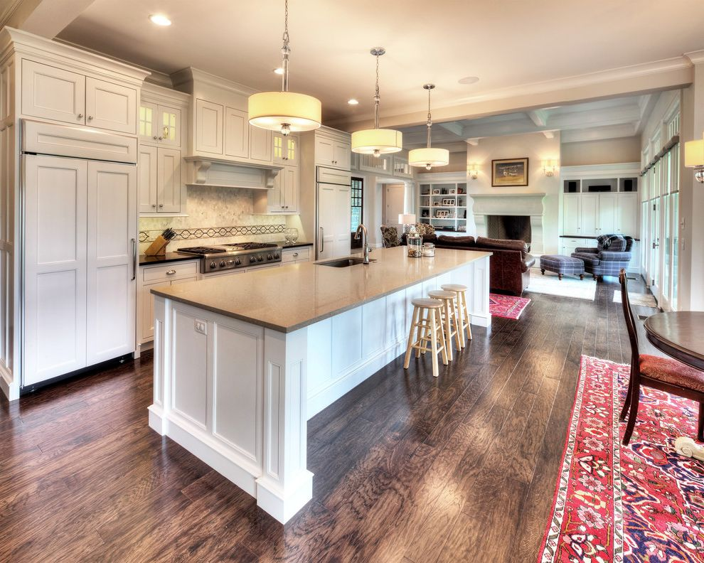Locksmith Springfield Mo   Beach Style Kitchen Also Contemporary Lighting Glass Cabinet Doors Hardwood Floors Island Sink Kitchen Island Light Large Island Open Concept Open Floor Plan Quartz Countertop Traditional Kitchen White Cabinet White Kitchen