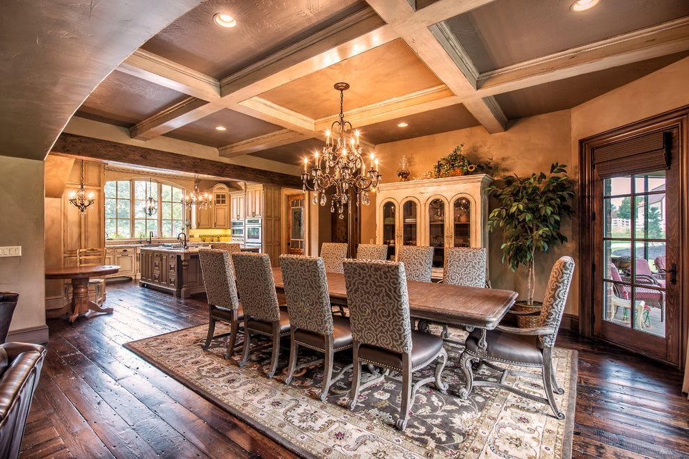 Locksmith Springfield Mo   Traditional Dining Room Also Antique Brick Cast Stone French Country Hand Scraped Flooring Old World Rustic Wood Stones Wood Beams