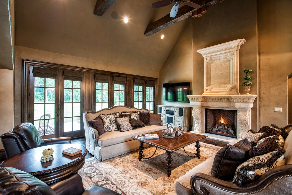 Locksmith Springfield Mo   Traditional Living Room Also Antique Brick Cast Stone Fireplace Mantels French Country Granite Countertop Old World Rustic Wood Stone Cast Fireplace Stones Wood Beams