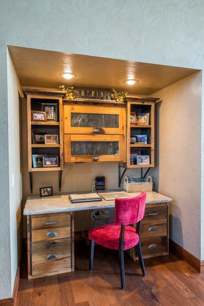 Locksmith Springfield Mo with Rustic Home Office Also Alcove Computer Desk Cup Pulls Desk Earth Tones Ledge Nook Recessed Light Red Upholstered Chair Rustic Shelves White Wall Wood Floor