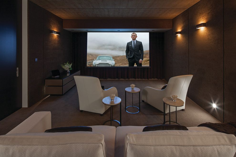 Los Banos Theater   Contemporary Home Theater  and Movie Viewing Room Sconces Screening Room White Chairs White Couch