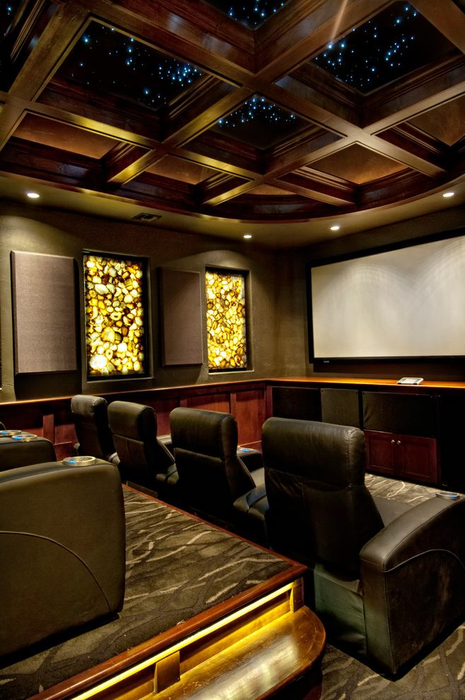 Los Banos Theater   Mediterranean Home Theater Also Black Armchairs Coffered Ceiling Dark Wood Beams European Gray Carpet Luxury Recessed Lighting