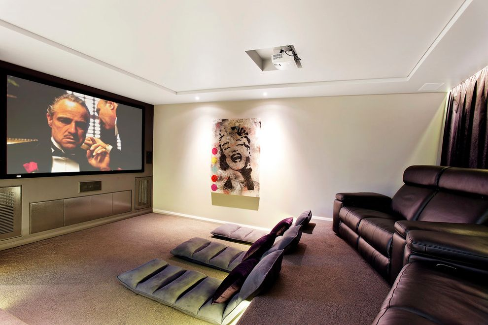 Los Banos Theater with Contemporary Home Theater Also Beige Wall Carpet Floor Mats Home Theater Leather Lounge Chair Leather Recliner Marilyn Monroe Movie Room Projector Projector Screen Tiered Seating