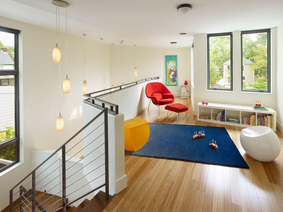 Lowes Bamboo Flooring   Modern Kids Also Art Blue Rug Bookcase Cable Railing Hall High Ceiling Kids Play Room Loft Orange Armchair Pendant Light Rug Stairs Wood Floor