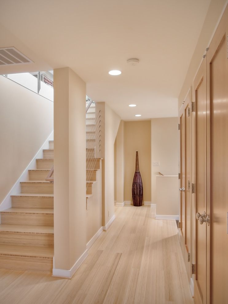 Lowes Bamboo Flooring with Contemporary Staircase  and Alcove Art Baseboards Built Ins Ceiling Lighting Closet Entrance Entry Foyer Handrail Monochromatic Neutral Colors Nook Recessed Lighting Steel Cable Railing White Wood Wood Flooring Wood Trim