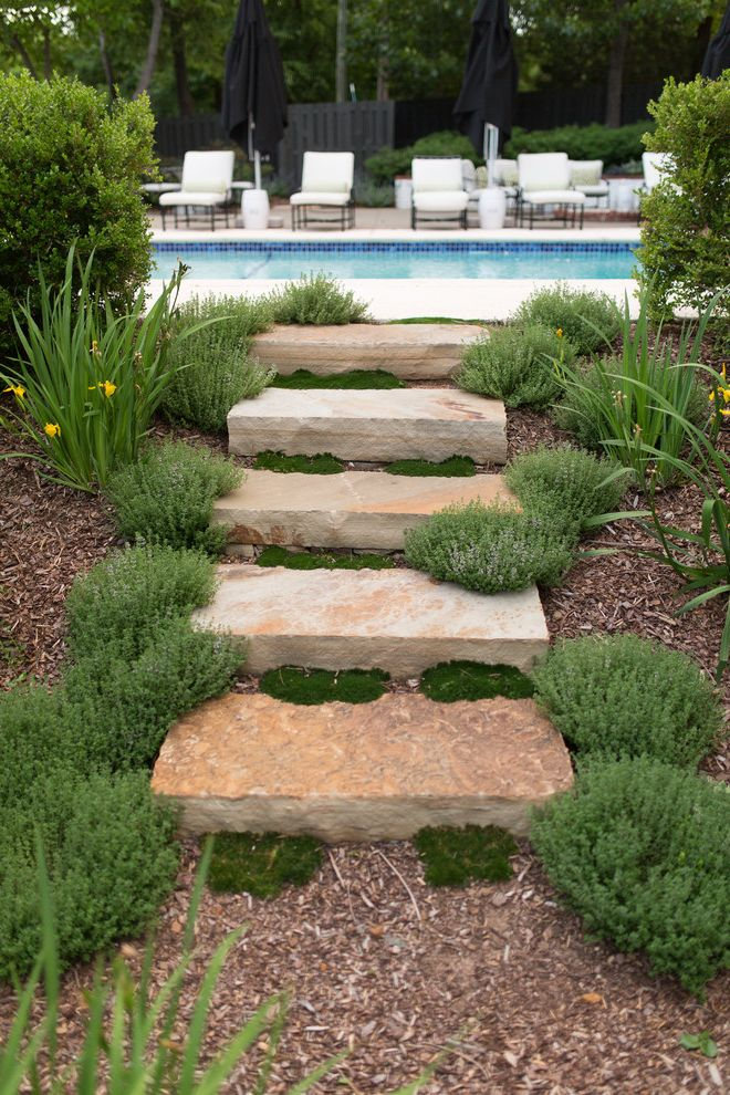 Lowes Essex Vt   Traditional Landscape  and Ground Cover Moss Mulch Outdoor Steps Planted Joints Pool Stone Steps