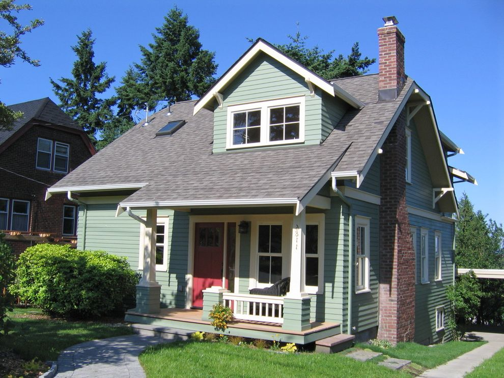 Lowes Essex Vt with Traditional Exterior  and Addition Brick Chimney Bungalow Covered Porch Craftsman Dormer Energy Efficient Entry Front Door Gable Roof Green Lawn Overhang Porch Red Door Seattle Second Story Siding Tear Off