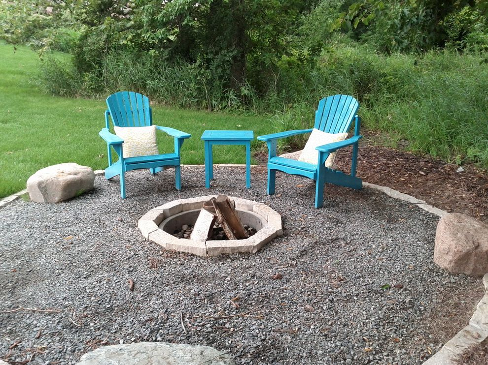 Lowes Essex Vt with Traditional Patio  and Blue Adirondack Chairs Boulders Casual Crushed Rock Patio Crushed Stone Patio Fire Pit Patio Fire Ring Natural Patio Outdoor Entertating Stone Edging Stone Fire Pit