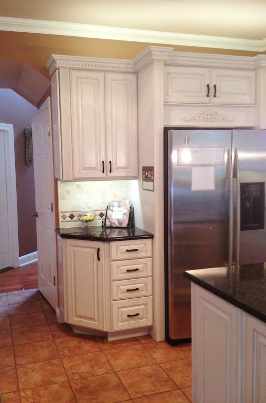 Lowes Henderson   Traditional Kitchen  and Cream Colored Cabinets Lowes of Lake Elsinore Quartz Countertop Stacked Moulding