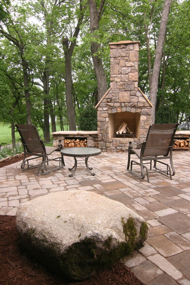 Lowes Hibbing Mn   Rustic Patio  and Boulder Boulder Outcroppings Firewood Storage Lake Minnetonka Natural Stone Fireplace Outdoor Fireplace Outdoor Furniture Paver Patio