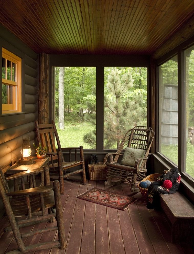 Lowes Hibbing Mn   Rustic Porch Also Beadboard Cabin Camp Log Rocking Chair Rustic Stained Wood Timber Wainscott