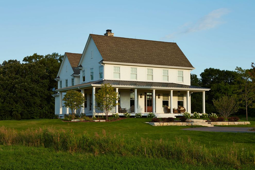 Lowes Hibbing Mn with Farmhouse Exterior Also Covered Porch Farm Field Gable Roof Grass Gray Roof Grey Roof Porch Two Story House Veranda White Farm House White Farmhouse White House White Siding Wraparound Porch