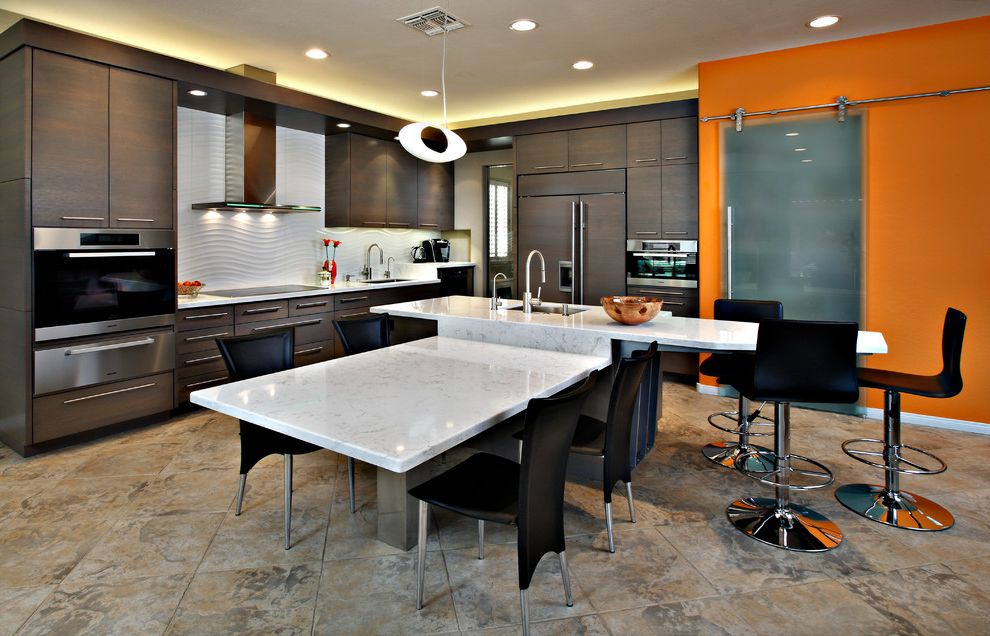 Lowes Scottsdale   Contemporary Kitchen  and Counter Stools Dining Chairs Island Mounted Table Kitchen Island Light Orange Accent Wall Ovens Phoenix Scottsdale Sliding Glass Barn Door Wood Panel Fridge