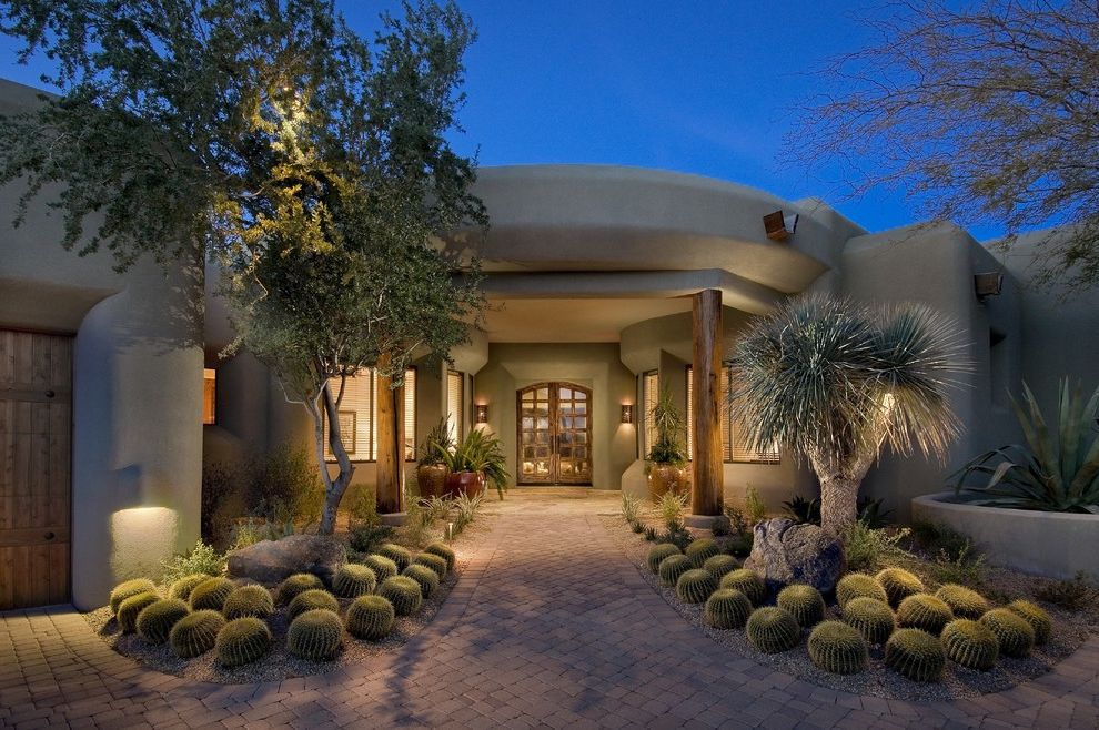Lowes Scottsdale   Southwestern Landscape Also Double Entry Doors Entry Landscape Lighting Low Garden Walls Path Pavers Pot Plants Rounded Edges Cactus Stucco Timbers