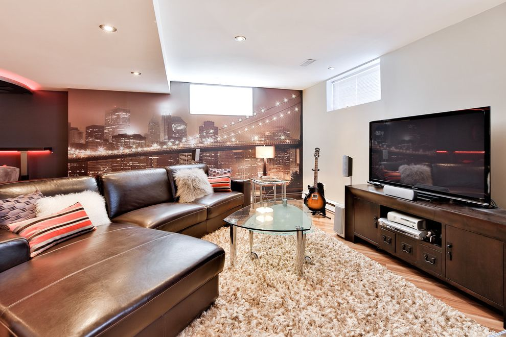 Lowes Sioux City   Contemporary Basement  and Basement Brown Sofa Glass Top Coffee Table Recessed Lighting Rolling Coffee Table Wall Mural