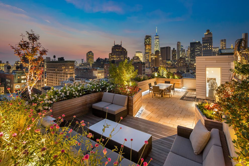 Lowes Sioux City   Contemporary Deck Also Beige Outdoor Seating City View New York City View Outdoor Furniture Parapet Wood Railing