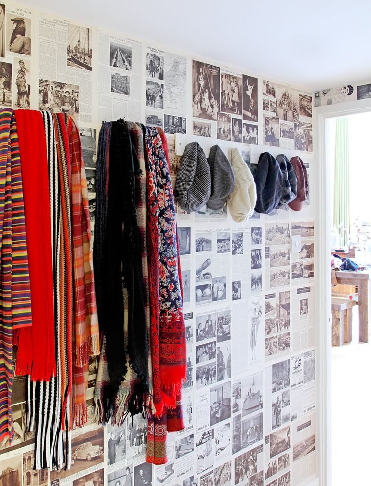 Make Your Own Doormat with Eclectic Entry  and Book Wallpaper Coat Hook Coat Rack Colourful Eclectic Hat Rack Hat Storage Newspaper Wallpaper Open Plan Apartment Quirky Wallpaper Scarf Rack Scarf Storage Scarves Vintage Wallpaper