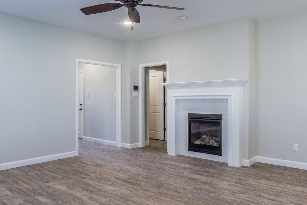 Mark Payne Homes   Contemporary Living Room Also Gas Fireplace Subway Tile Tile Fireplace Townhome