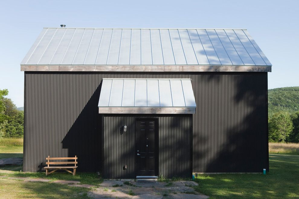 Metal Roof Options   Rustic Exterior  and Barn Black Door Black House Corrugated Metal Siding Garden Bench Industrial Metal Roof Minimal Path Walkway Wood Bench