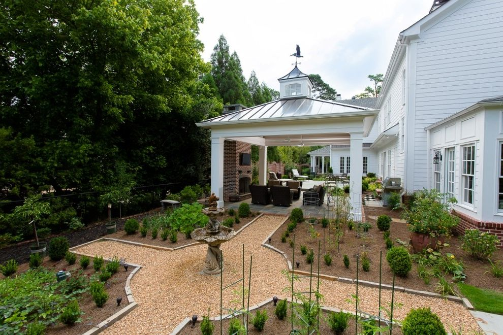 Metal Roof Options   Traditional Landscape Also Covered Patio Focal Point Formal Landscape Garden Feature Mulch Parterre Pergola Round Path Shrubs Square Columns Tiered Water Fountain Water Fountain White Columns