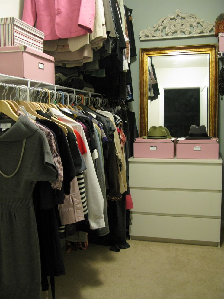 Mirrored Dresser Cheap   Eclectic Closet  and Beige Carpet Boxes Closet Clothes Clothing Dresser Gold Mirror Hanging Rod Mirror Shelf Storage