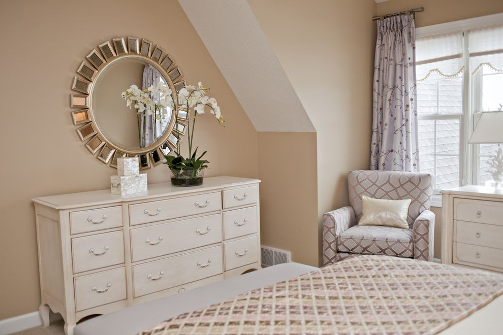 Mirrored Dresser Cheap   Modern Bedroom  and Arm Chair Beige Dresser Curtain Panel Fringe Mother of Pearl Boxes Nail Head Detail Nightstand Pillows Starburst Mirror Table Lamps Upholstered Headboard Valance Vaulted Ceiling White Painted Wood