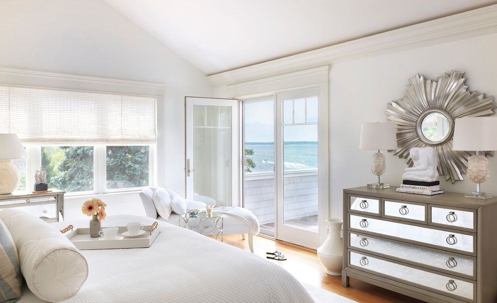 Mirrored Dresser Cheap with Beach Style Bedroom Also Balcony Chaise Lounge Crown Molding French Doors Mirrored Furniture Serving Tray Sloped Ceiling Sunburst Mirror Vaulted Ceiling White Bedding White Bedroom Wood Flooring