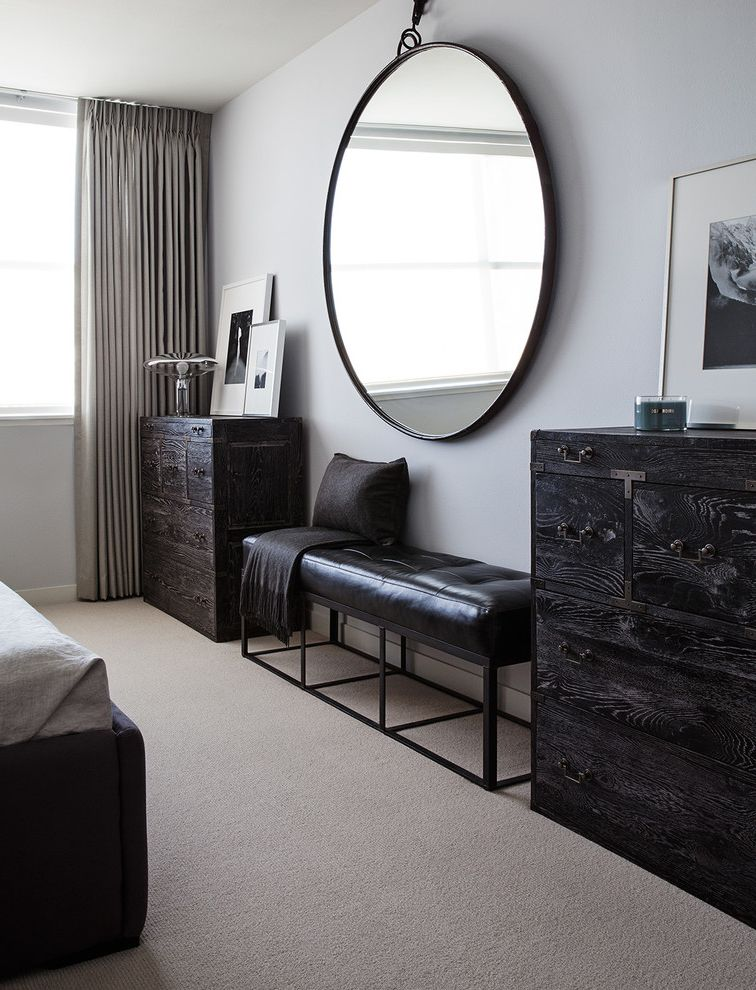 Mirrored Dresser Cheap with Contemporary Bedroom Also Beige Carpet Black Bed Black Bench Black Dresser Framed Artwork Gray Bedding Gray Curtains Hanging Mirror Large Round Mirror Leaning Artwork Neutral Bedroom Symmetry