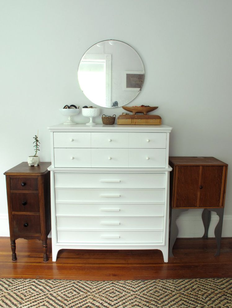Mirrored Dresser Cheap with Eclectic Bedroom  and Dresser Jute Mirror Nightstand Painted Round White Wood