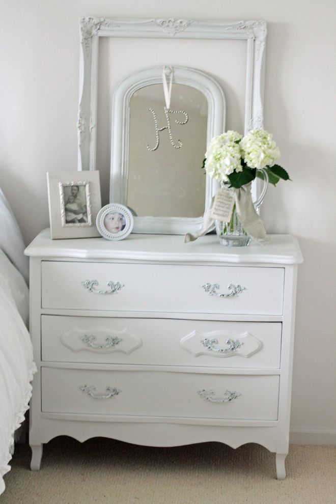 Mirrored Dresser Cheap with Shabby Chic Style Bedroom Also Bedside Table Beige Carpet Chest of Drawers Dressers Floral Arrangement Frames French Country Hydrangeas Photo Frame Shabby Chic White Bedroom