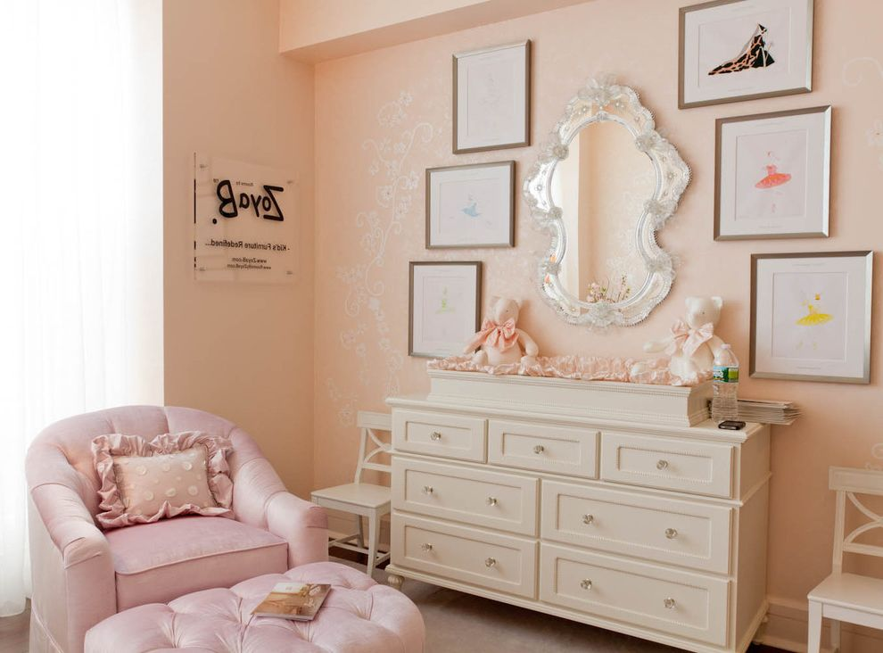 Mirrored Dresser Cheap with Shabby Chic Style Nursery  and Changing Table Chest of Drawers Crystal Knobs Curtains Drapes Dresser Gallery Wall Girls Room Nursery Pink Walls Venetian Mirror Wall Art Wall Decor Window Treatments