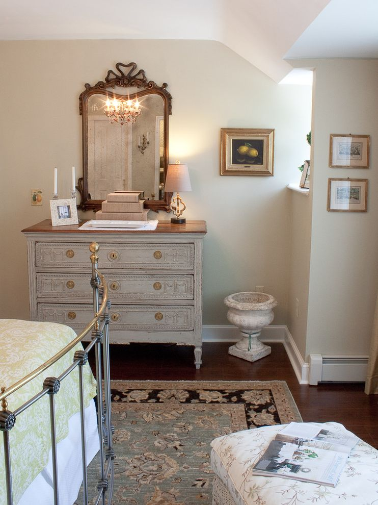 Mirrored Dresser Cheap with Traditional Bedroom Also Carved Wood Cast Stone Urn Chaise Chandelier Coverlet Dark Stained Wood Floor Dresser Green Iron Bed Oriental Rug Ornate Mirror White Bed Skirt