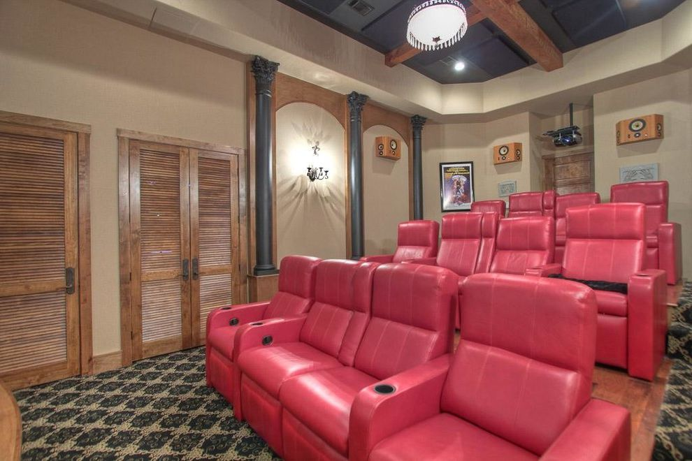 Montebello Theater   Farmhouse Home Theater Also Austin Limestone Custom Cabinets Custom Closet Custom Home Farm Sink Luxury Custom Home Ranch Reclaimed Wood Floors Reclaimed Wood Trusses