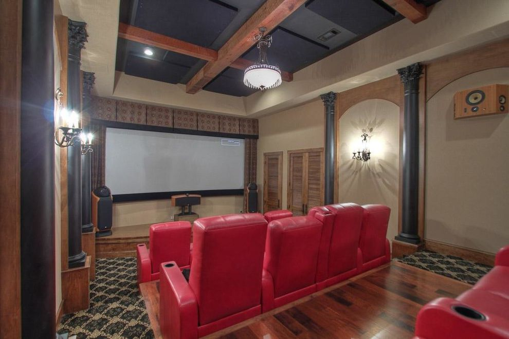 Montebello Theater with Farmhouse Home Theater Also Austin Limestone Custom Cabinets Custom Closet Custom Home Farm Sink Luxury Custom Home Ranch Reclaimed Wood Floors Reclaimed Wood Trusses