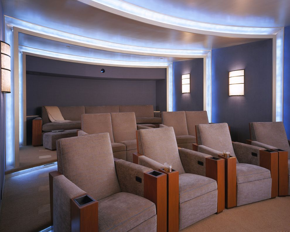 Morro Bay Theater   Contemporary Home Theater Also Ambient Lighting Armchairs Carpet Cup Holders Curved Wall Home Theater Slate Gray Wall Sconces